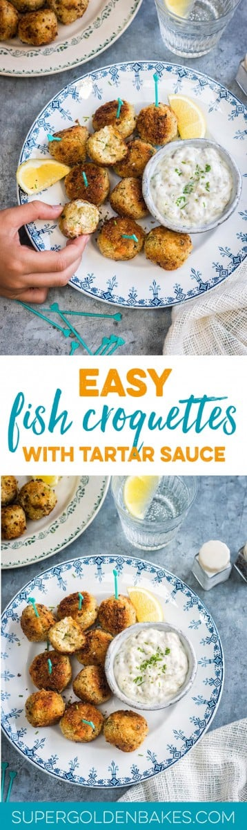 These herby fish croquettes, made with cod, haddock and salmon, are delicious served with easy tartar sauce. Kids and adults will love them! #fish | Supergolden Bakes