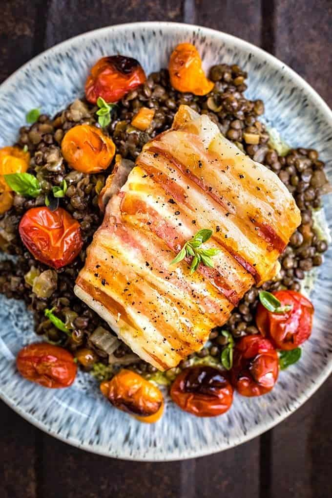 This delicious pancetta-wrapped cod with lentils is special enough for a dinner party yet easy enough for a weekday meal.