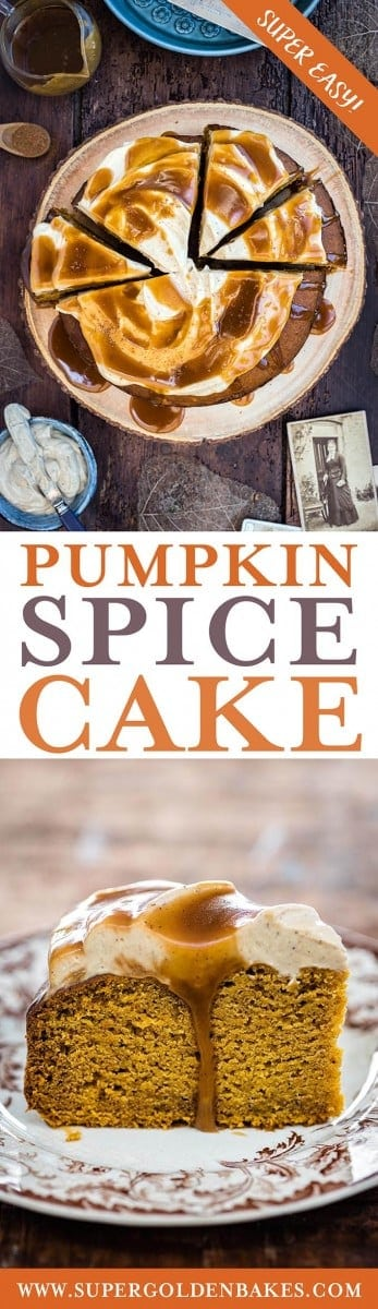 Pumpkin spice cake with cream cheese frosting and toffee drizzle - delicious and super easy | Supergolden Bakes