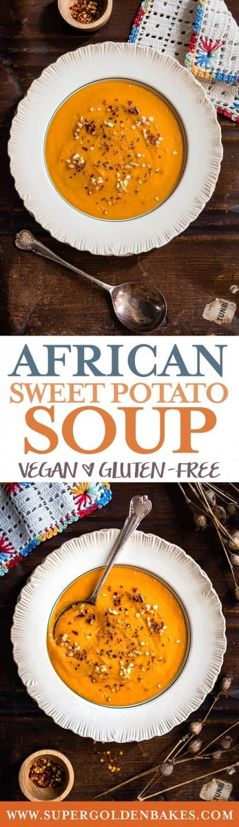 This vegan African sweet potato soup is hot, spicy and packed with flavour | Supergolden Bakes #soup #vegan #glutenfree