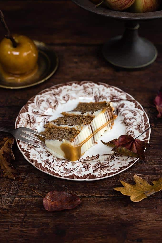 slice of Spiced apple layer cake with mascarpone frosting