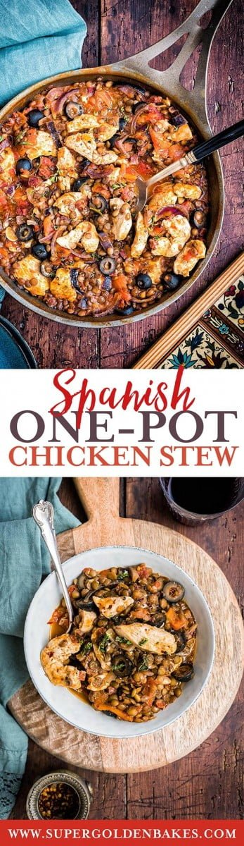 This one-pot Spanish chicken, chorizo and lentil stew is such a perfect comfort food for the colder weather and ready in 30 minutes. #chicken #stew #quickmeal