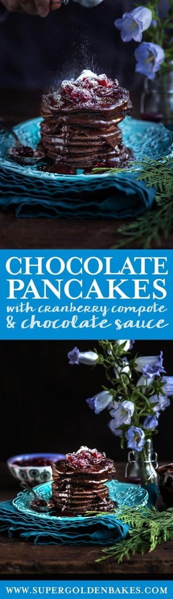 These chocolate pancakes with cranberry compote and chocolate sauce are the ultimate indulgence – perfect for a festive and delicious treat | Supergolden Bakes #Christmas #christmasrecipes #pancakes #chocolate