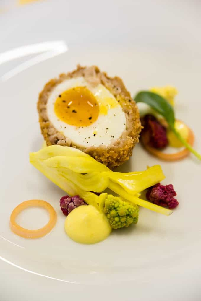 The perfect Scotch egg with pickled veggies