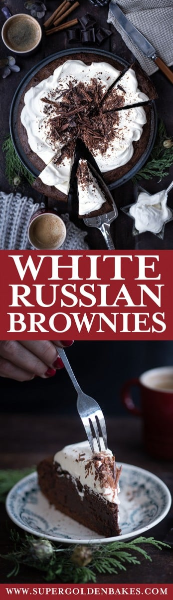 White Russian brownies - an intense chocolate/coffee hit with Kahlua-spiked whipped cream topping #brownies #chocolate #dessert