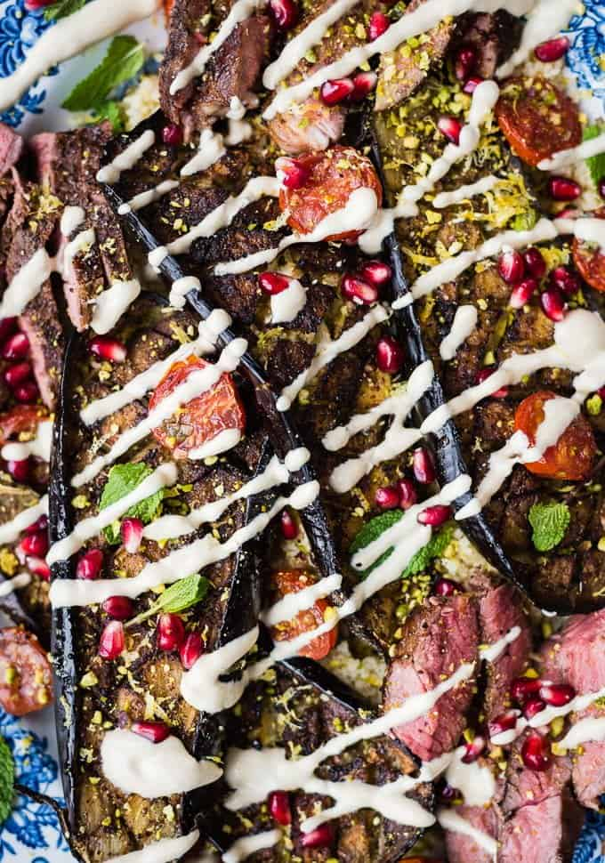 Griddled lamb leg steaks with roasted aubergines, tomatoes and couscous