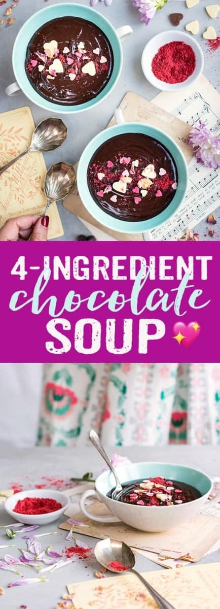 This indulgent four-ingredient chocolate soup will seduce chocolate lovers any time of the year! You only need four ingredients to create this delicious dessert