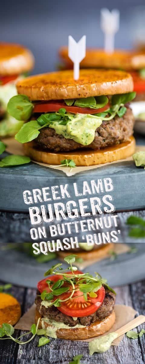 Serve these delicious Greek lamb burgers on roasted butternut squash 'buns' with a generous spoonful of addictive green tahini dressing. Simply delicious and a healthier choice if you are watching your carb intake. #lamb #burgers