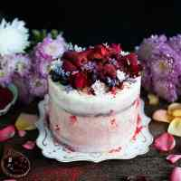 Red velvet layer cake with vanilla and strawberry frosting