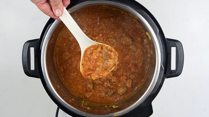 The finished curry in Instant Pot