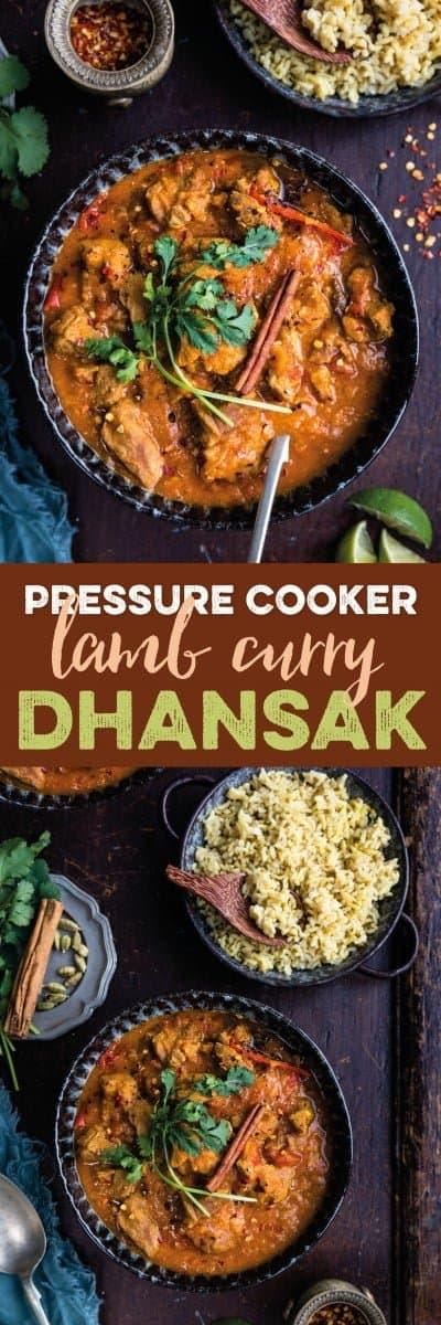 pressure cooker lamb Dhansak curry