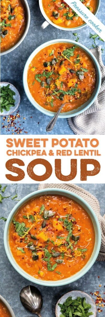 pressure cooker sweet potato, chickpea and red lentil soup