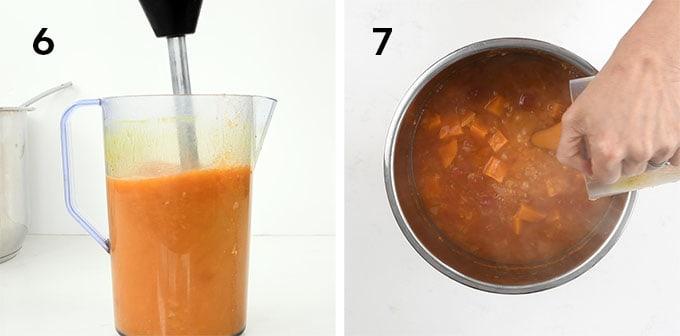 Red lentil soup collage