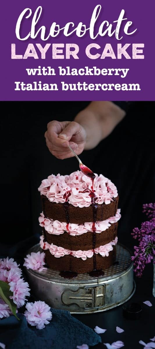 Chocolate layer cake with blackberry Italian buttercream and blackberry syrup