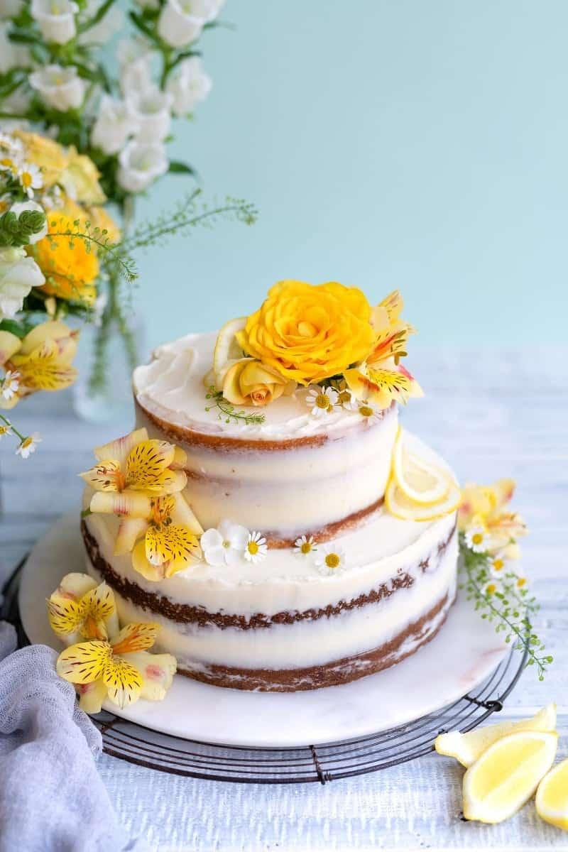 Lemon and elderflower wedding cake