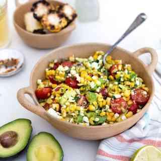 Bowl of corn and avocado salad