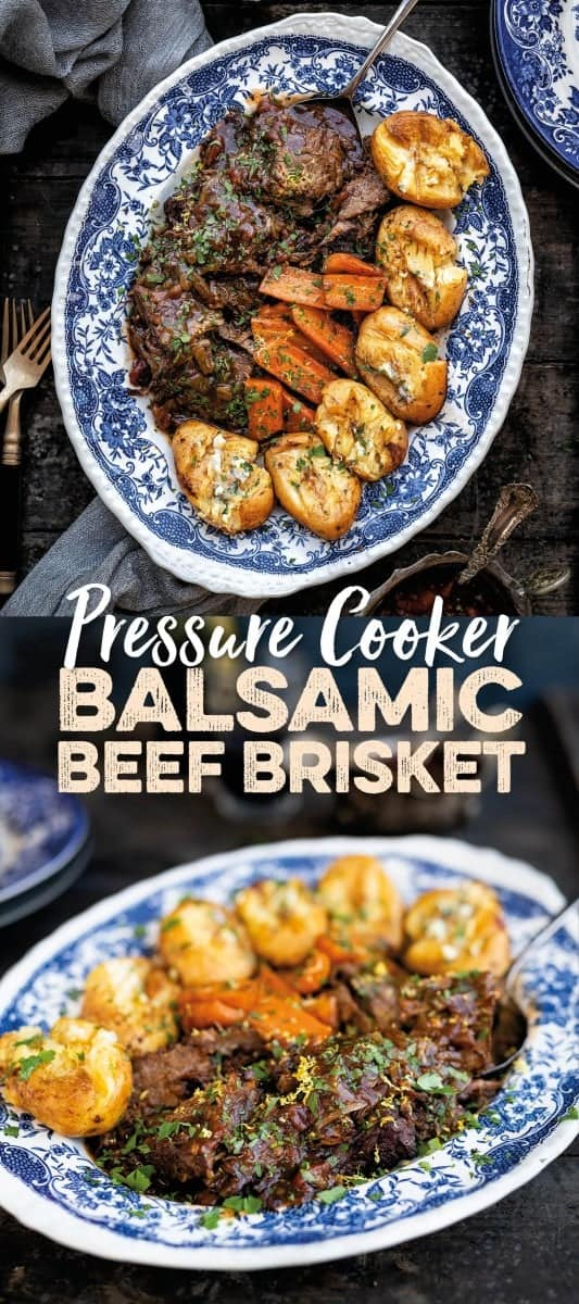Balsamic beef brisket cooked in a pressure cooker