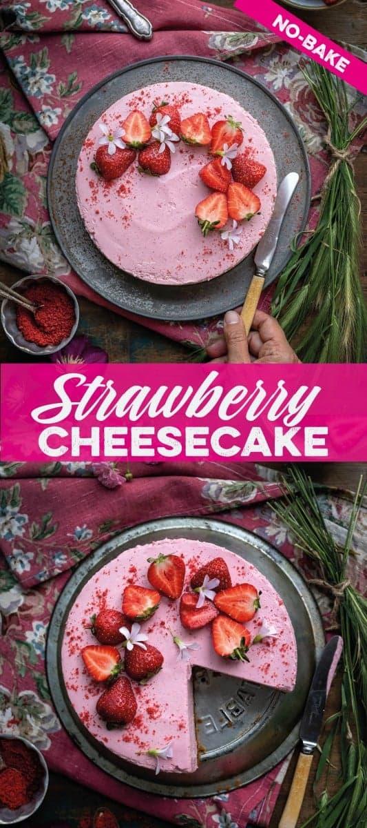 easiest no-bake strawberry cheesecake
