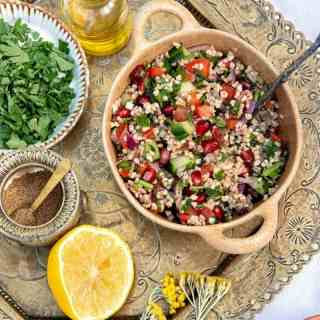 Small bowl of Lebanese tabbouleh