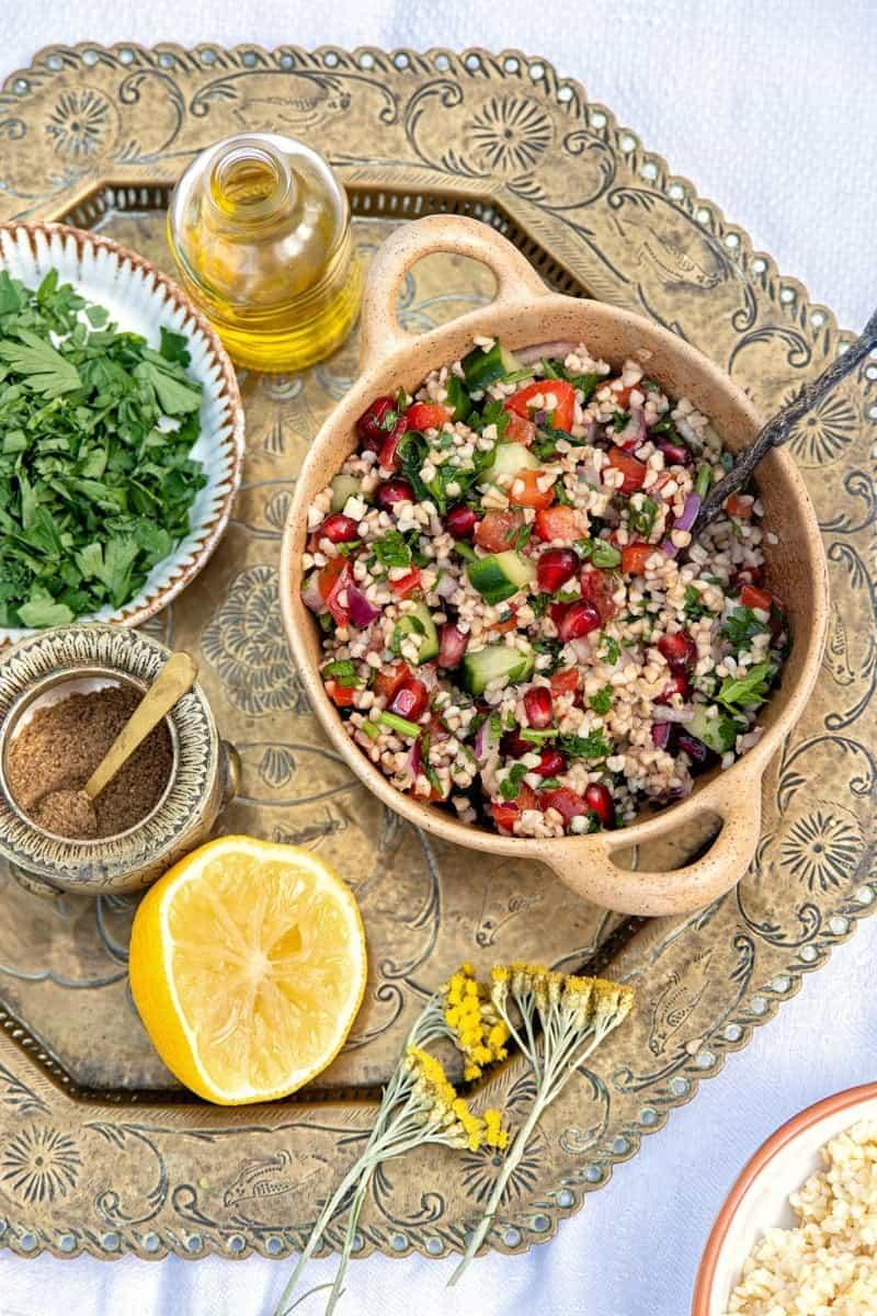 Small bowl of Lebanese tabbouleh