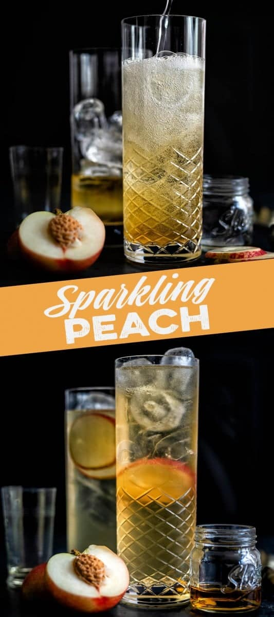 Sparkling peach whisky cocktail in a tall glass served over ice