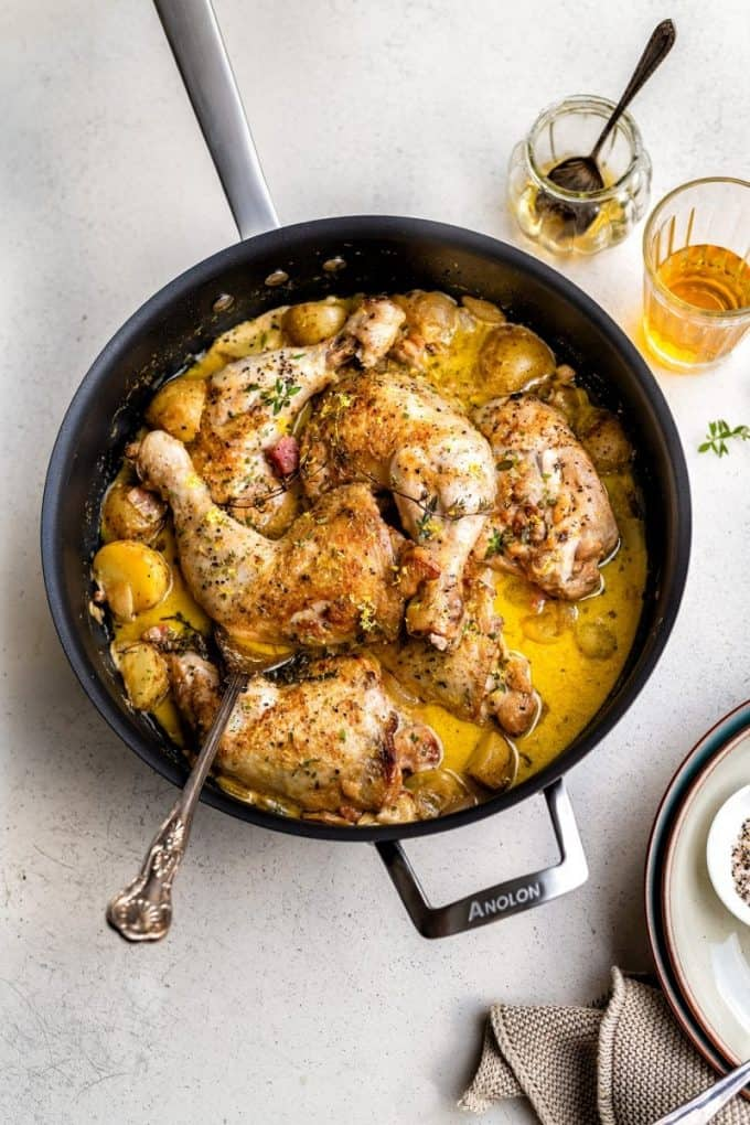 Creamy chicken and potato casserole in a large pan