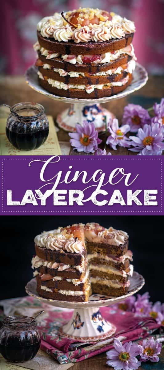 Ginger layer cake topped with wine-poached pears and cream cheese frosting pin