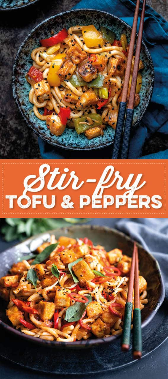 Bowls of stir-fry tofu with peppers and udon noodles