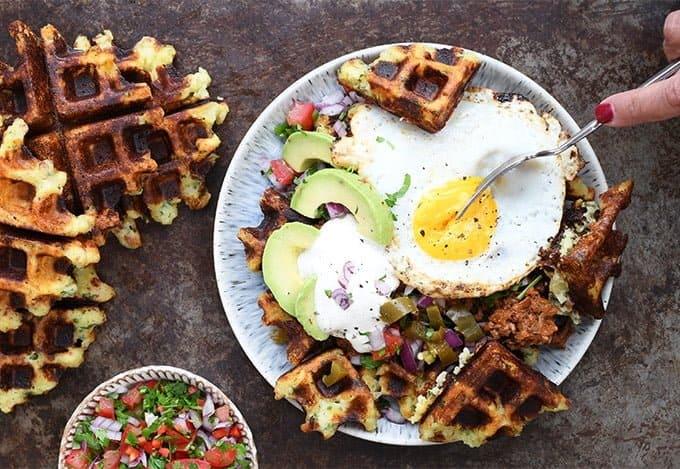Fully loaded savoury potato waffles