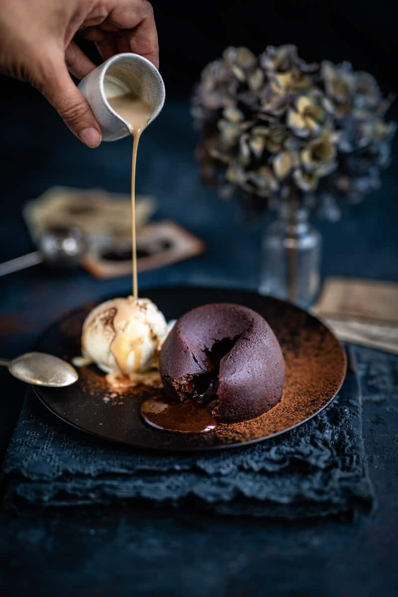 Molten chocolate lava cakes served with vanilla ice cream