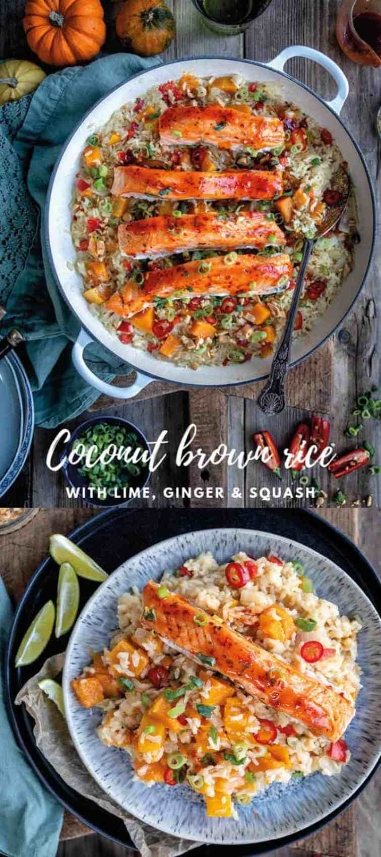 delicious coconut brown rice with ginger, lime and squash is the perfect pairing for The Saucy Fish Co. Salmon with chilli, lime and ginger dressing