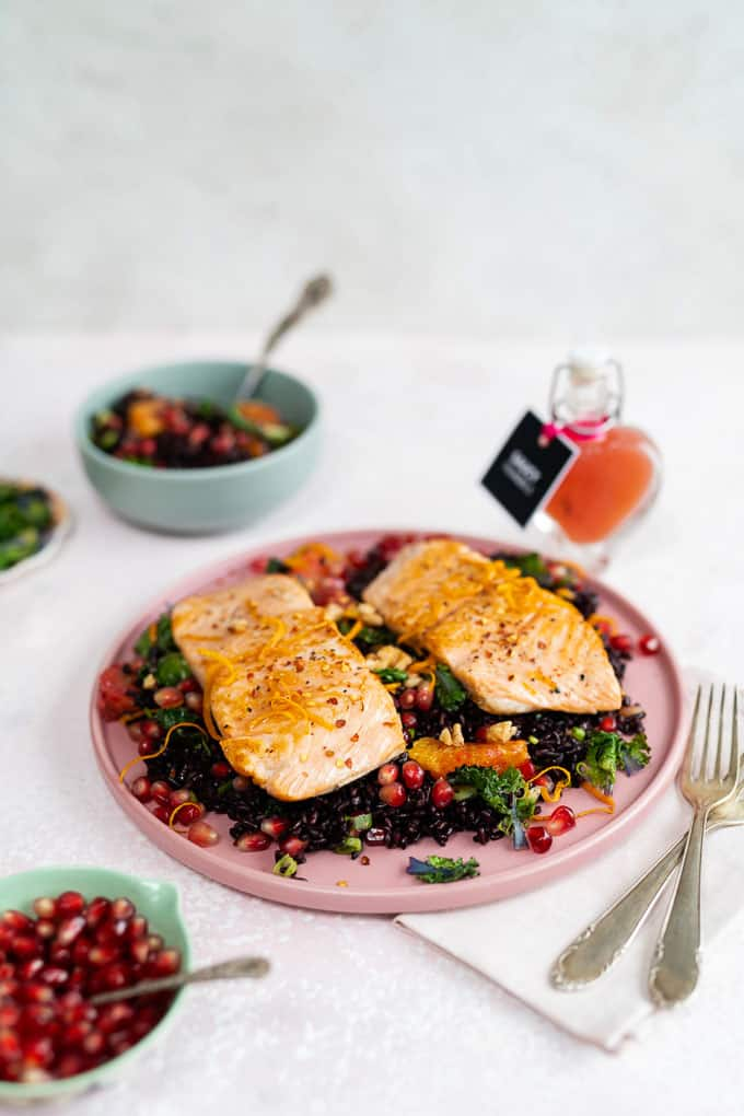 Forbidden rice salad with pan fried salmon