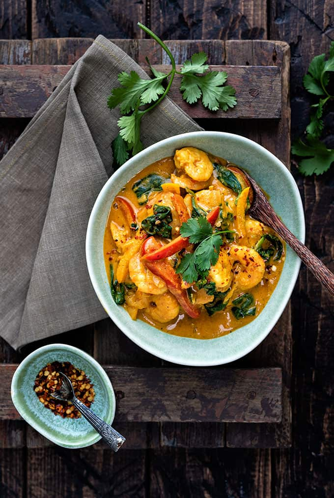 quick prawn curry in a bowl served over rice