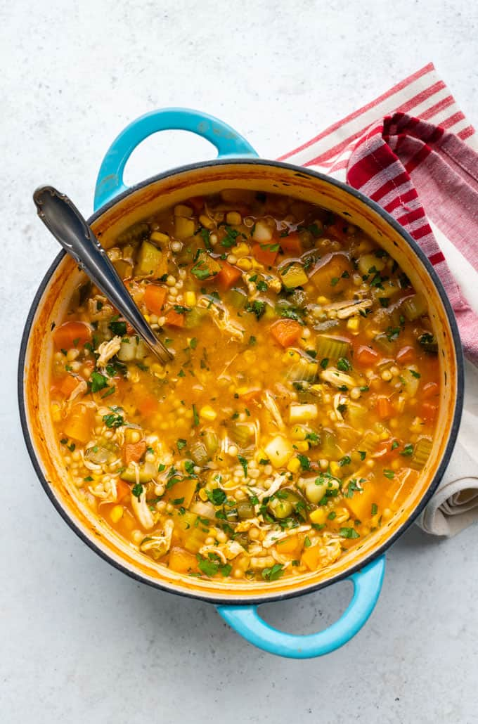 Pot of chicken and vegetable soup