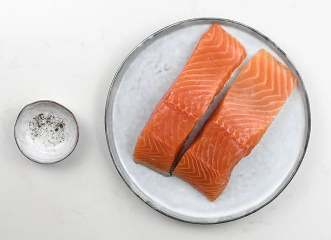 Salmon fillets on a plate