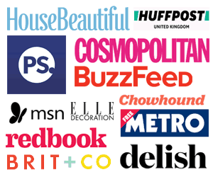 Collage of brand logos, including Cosmopolitan, BuzzFeed, Chowhound, MSN, Elle, and Redbook