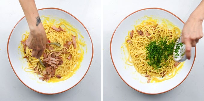 Adding bacon and parsley to pasta carbonara in a large bowl collage