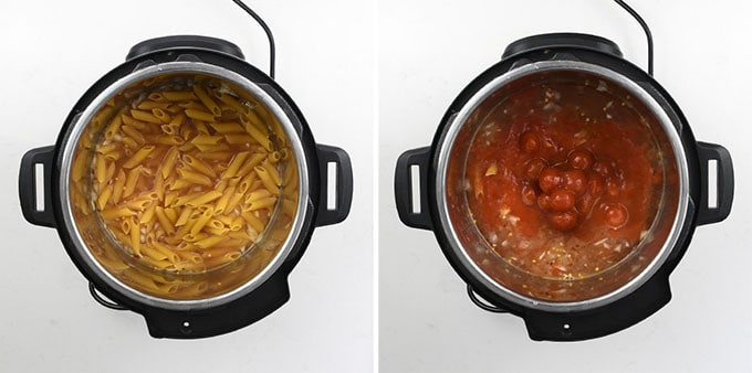 Collage showing how to make shrimp arrabbiata pasta in a pressure cooker