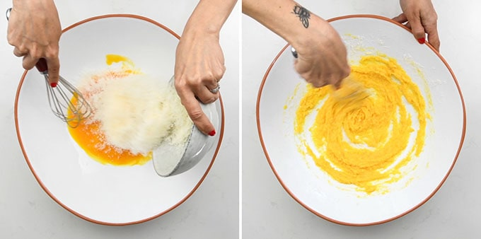 Collage of eggs, yolks and grated cheese being whisked together in large bowl to make carbonara sauce
