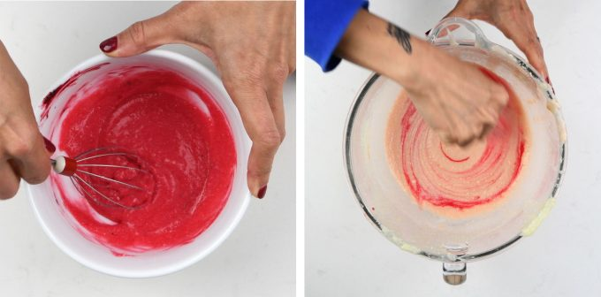 Tinting the batter to create pink ombre cake layers