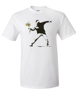 bansky flower thrower white