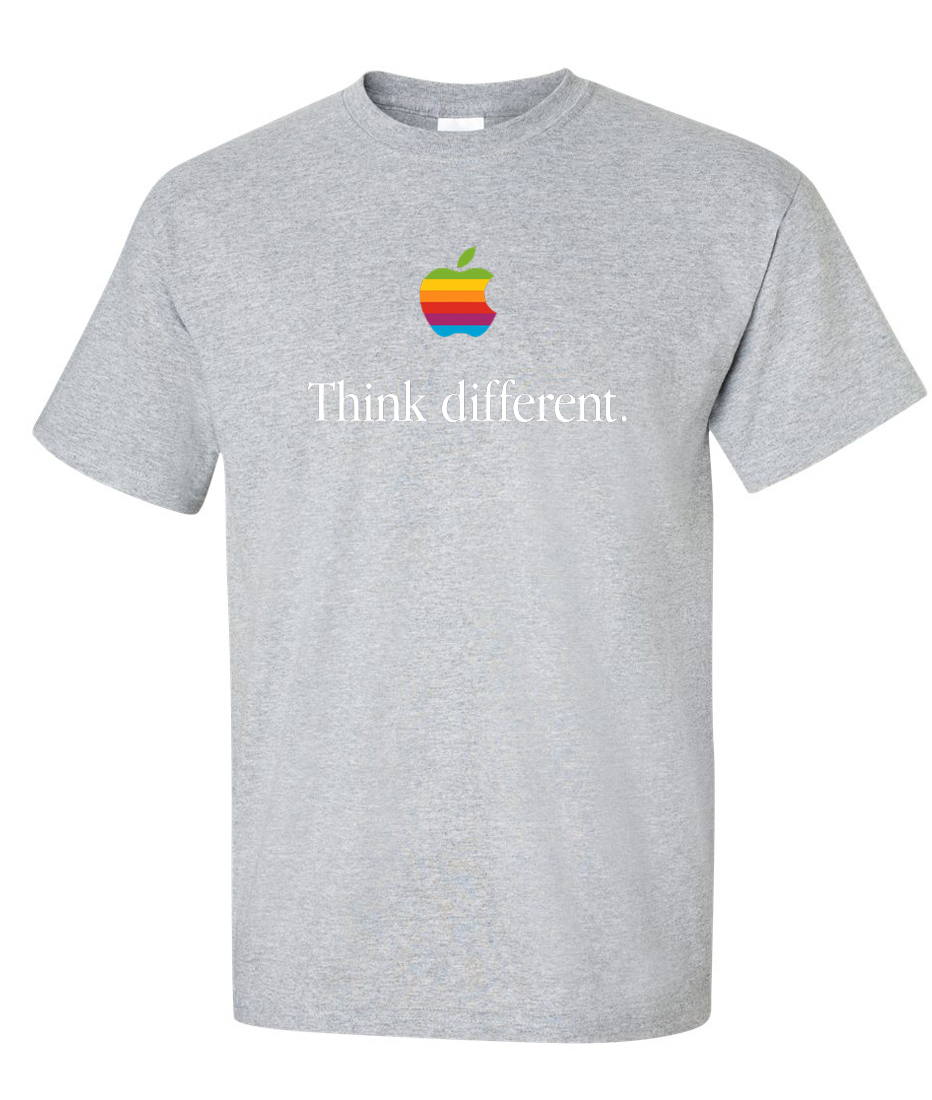 Think Different Retro Apple Computer Logo Graphic T Shirt