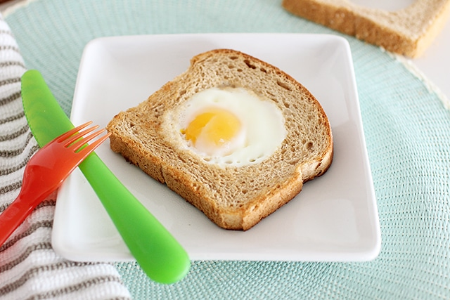 toad in a hole or egg in a basket breakfast