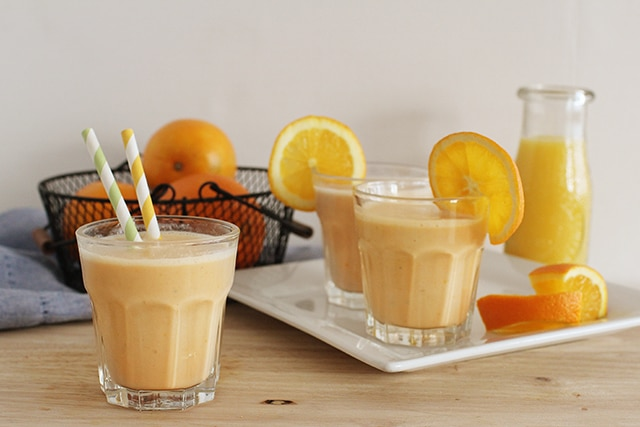 Homemade orange julius in glass