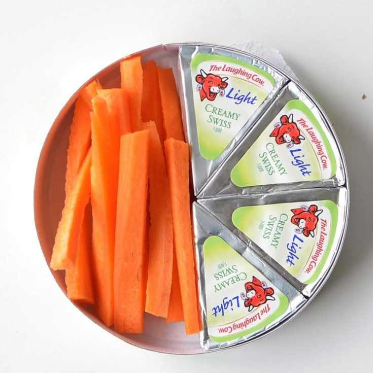 carrot sticks and laughing cow cheese