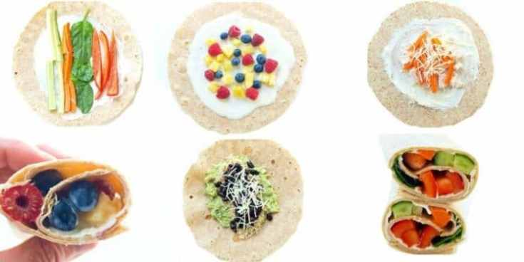 six different wrap lunch ideas