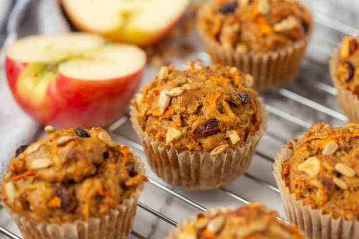 healthy whole grain muffins with raisins carrots and seeds