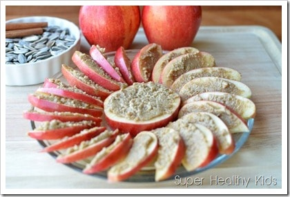 apples and sunbutter platter