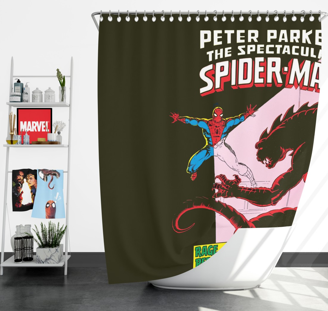 peter parker the spectacular spider man shower curtain
