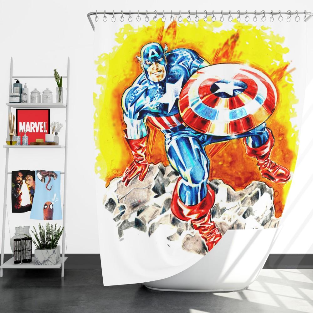 captain america the first avenger marvel shower curtain